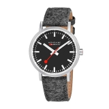 Mondaine New Classic Ø40mm brushed, d´grey strap